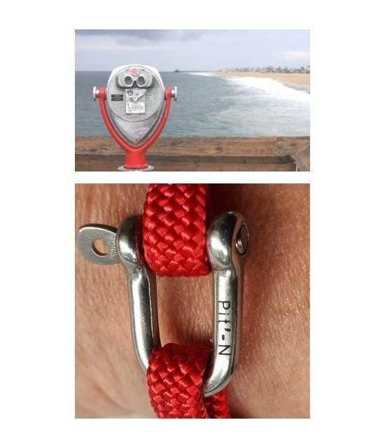 Transat rouge fil rouge - manille 1 -bracelet marin français- CP Pit-n.com
