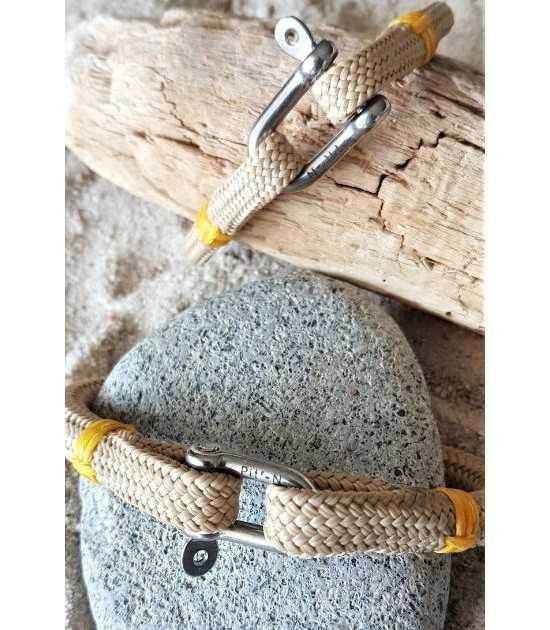 Beach & Sea beige fil jaune - 6 et 8 mm- bracelet marin français- CP Pit-n.com