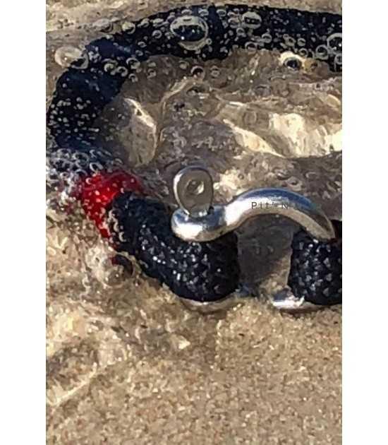 Navigator bleu fil rouge -nautique - bracelet marin français Tradition yachting - CP Pit-n.com