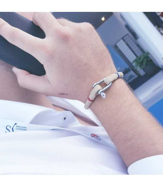 CORDAGE BEIGE fil rouge et bleu bracelet marin français- CP Pit-n.com -