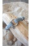 Bracelet marin français- CP Pit-n.com - TRADITION YACHTING - Cabestan cordage gris, fil blanc, manille lyre