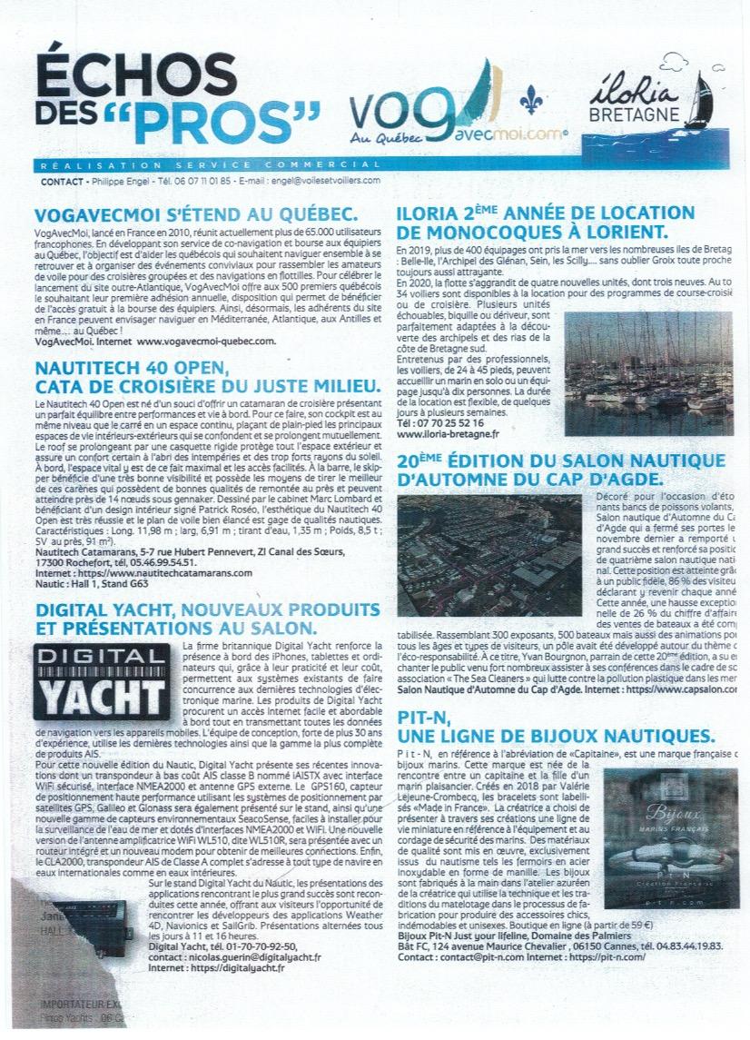 Pit-n article de presse voiles et voiliers janvier 2020